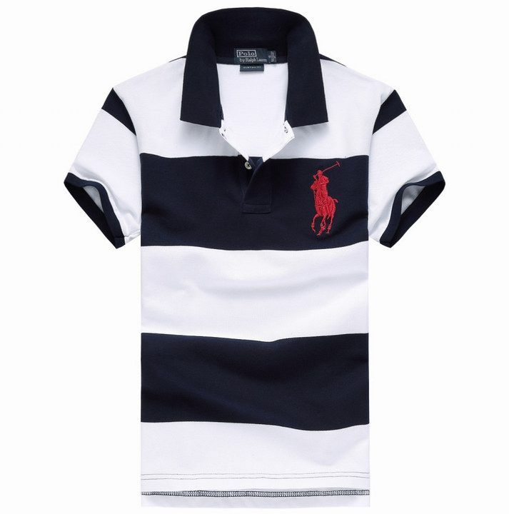 Polo By Ralph Lauren Contrast Collar Block Striped Polo Shirt Wh
