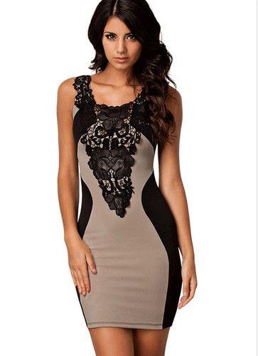 Черно-бежевое  платье Жіночі Модні Сукні bd3784f73a6cf