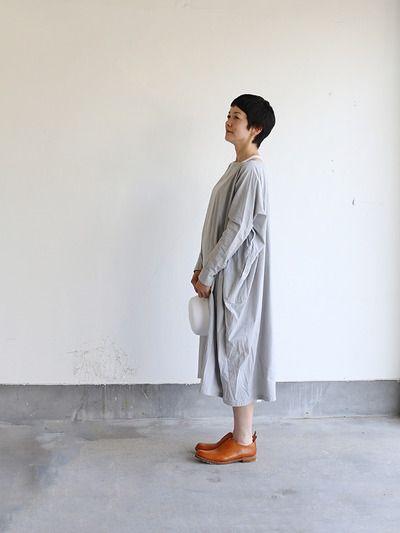 Boat neck long dress~cotton 1