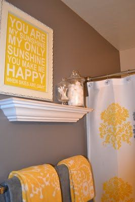 yellow bathroom color ideas grey such cute bathroom color scheme even love the saying great way to start day off right