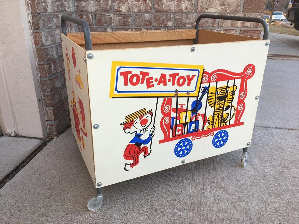 Tote A Toy Rolling Toy Box On Wheels 1950s Circus Themed Vintage Tote A Toy Mid Century Child Kid S Room Decor Kid Room Decor Baby Boy Room Decor Kids Room