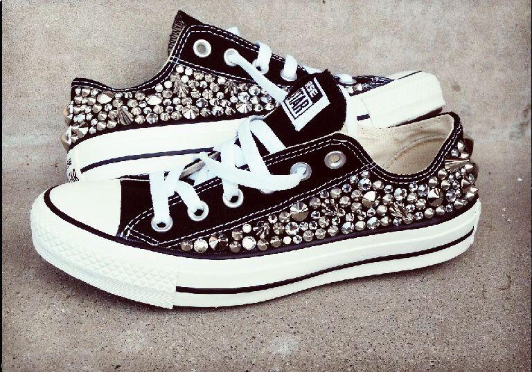 Custom Studded Converse, Swarvoski Rhinestone and Spike