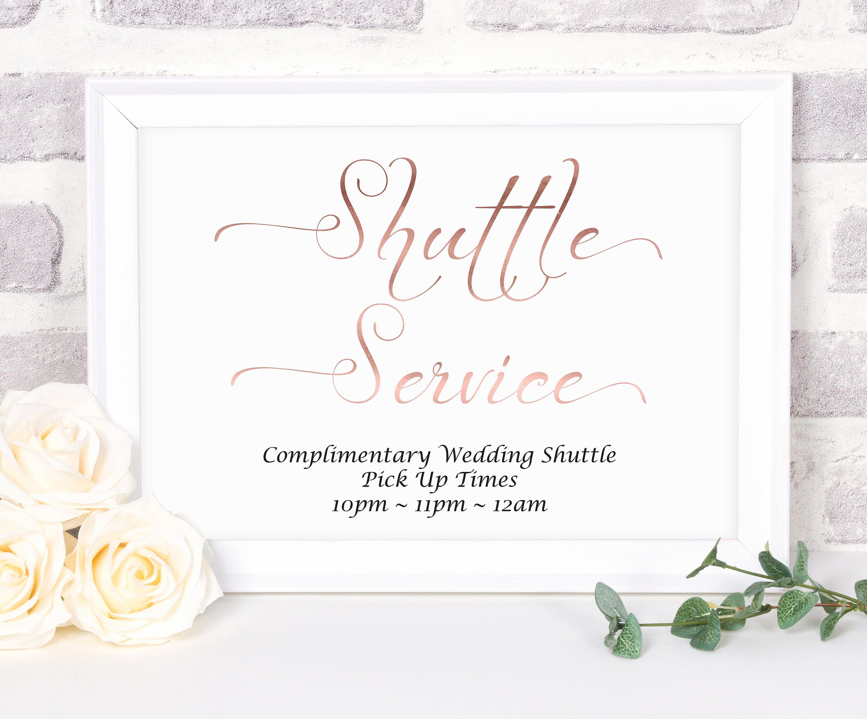 Wedding Shuttle Service Sign Rose Gold Shuttle Sign