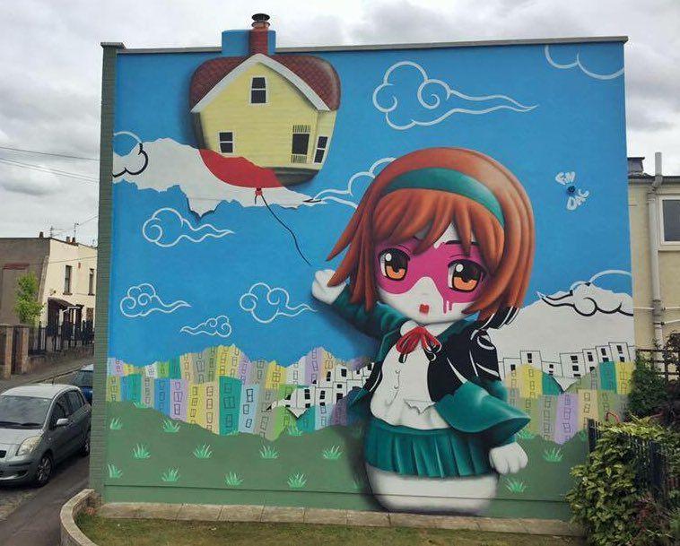 Bristol, UK: nuovo pezzo dello street artist Fin DAC per il Bristol Upfest.