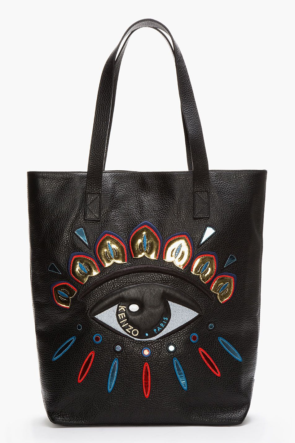 4f15c3d07eb KENZO Black Leather Metallic Embroidered Eye Tote. Can't stop falling in  love with your eyes.