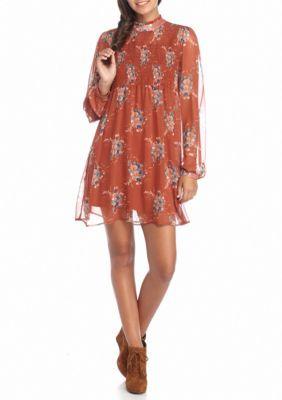 As U  Wish  High Neck Smocked Floral Print Dress