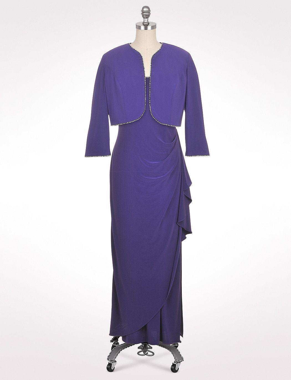 Misses | Dresses | Long Dresses | Crystal Trim Jacket Dress ...