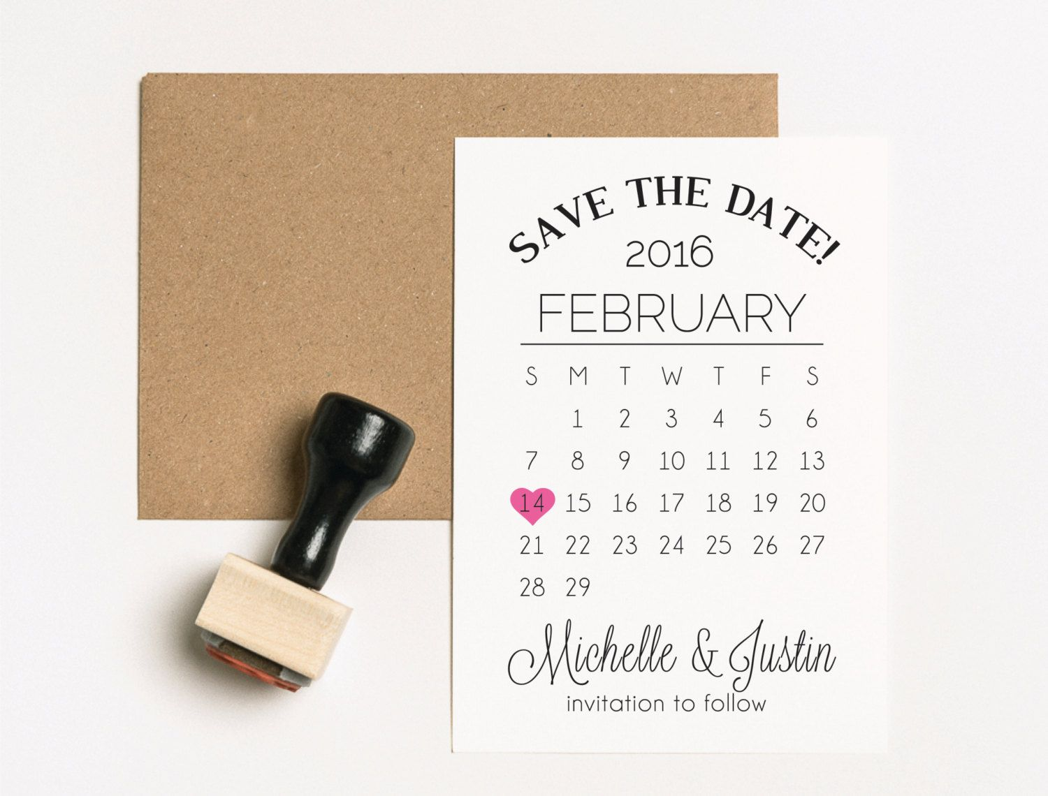 Save the Date Stamp Set, TWO Stamps, Wedding Calendar Stamp ...