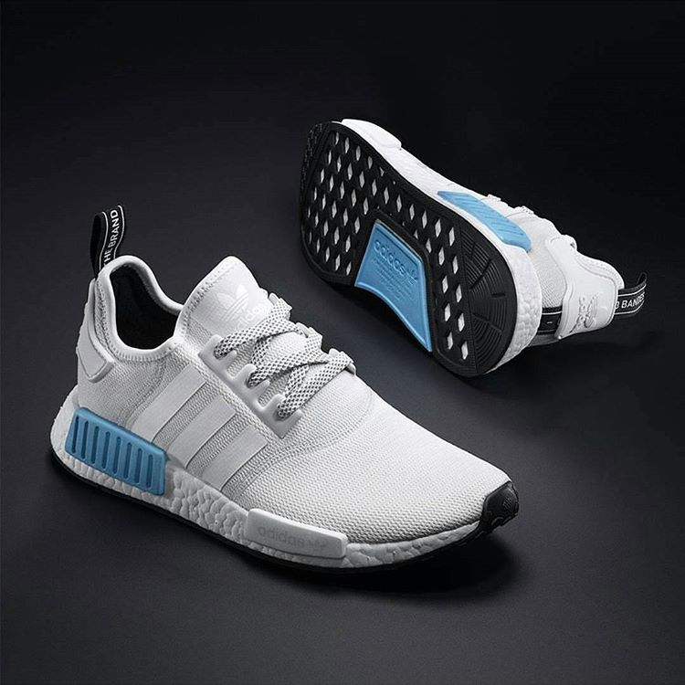 ADIDAS ORIGINALS NMD R1 BRIGHT CYAN WHITE