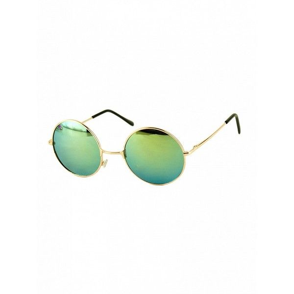 f3faa97ff2 Choies Green Round Lens Metal Frame Sunglasses ( 4.90) ❤ liked on Polyvore  featuring accessories