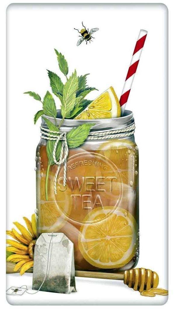 Mason Jar Sweet Iced Tea 100% Cotton Flour Sack Dish Towel Tea Towel