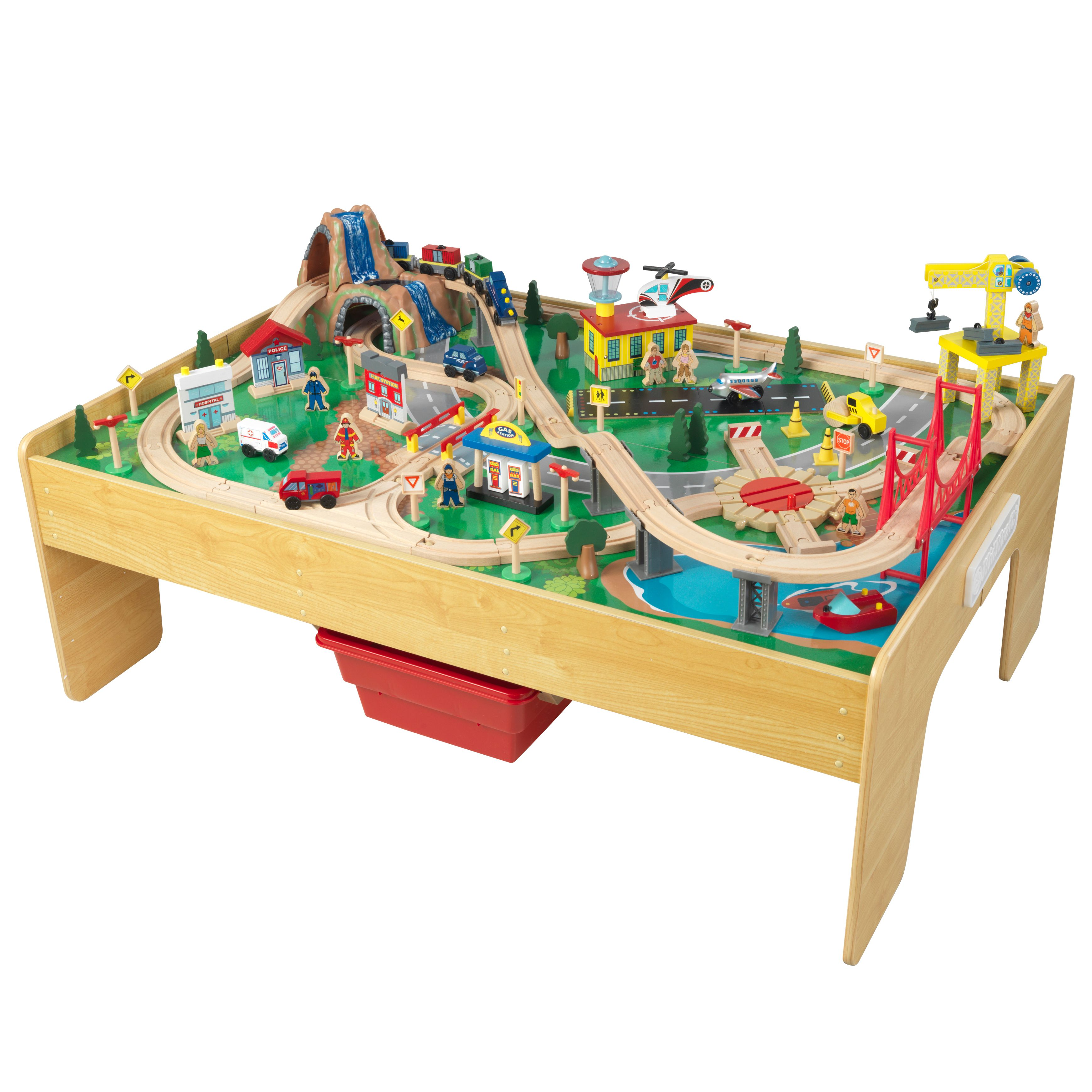 Kidkraft Adventure Town Railway Wooden Train Set Table With Ez Kraft Assembly With 120 Accessories Included Walmart Com Wooden Train Set Table Train Set Table Wooden Train Set