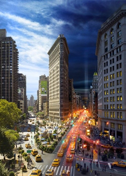 Photographer Stephen Wilkes has created a project called Day to Night where he takes multiple photos of the New York landscape transitioning from day to night. He sets up on one location for no less than 10 hours and photographs the same perspective until the sun sets. Then it's off to Photoshop with his 30-50 photos to stitch them all together and make magic. I have another photo of this same location from a different photographer, Sergey Louks.