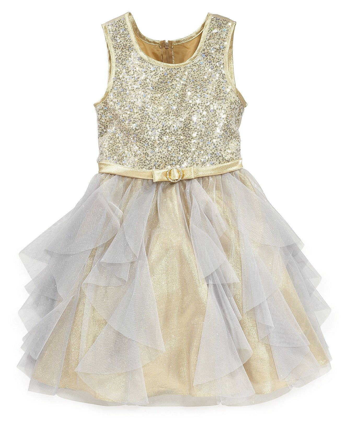Bonnie Jean Girls Dress, Girls Sequin Glitter Tulle Dress - Kids Girls Dresses - Macy's