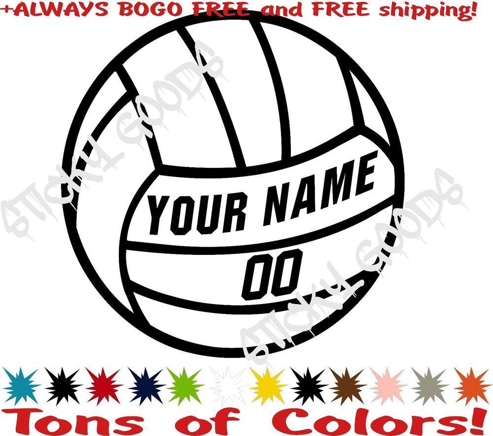 Bogo Free 11 Custom Volleyball Team Kids Name Number Vinyl Decal Car Sticker Car Decals Vinyl Car Stickers Kid Names