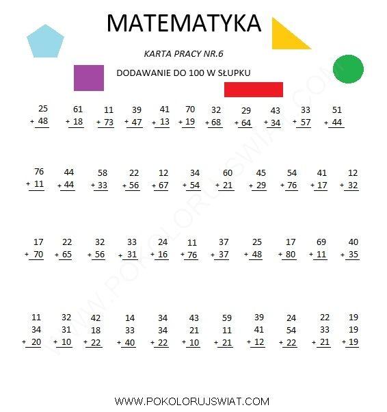 Karta pracy ucznia- Dodawanie w su0142upku : Igor : Pinterest