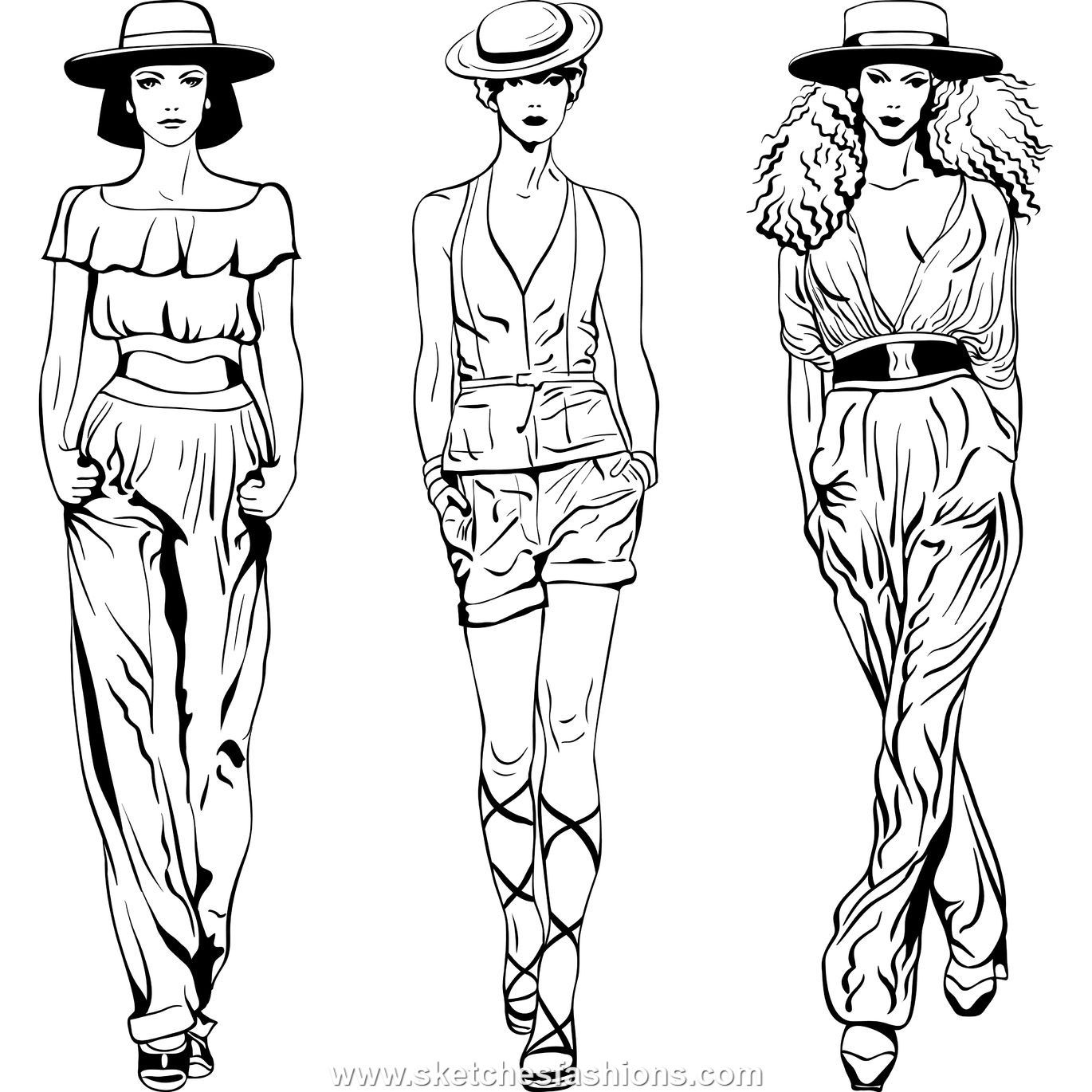 Line Art Fashion : Fashion figure drawing back female body sketch