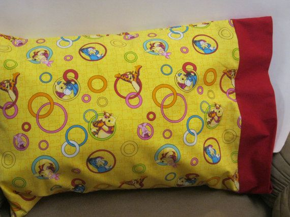 Pooh Bear Pillowcase  Toddler/Travel or Standard by bubblenbee