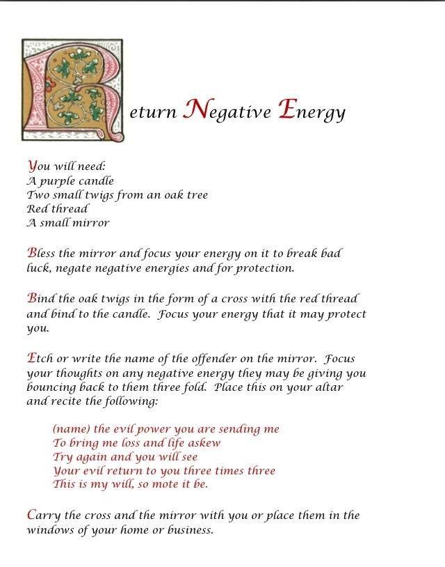Return To Sender Negative Energy Wiccan Spell Book Karma Spell Revenge Spells