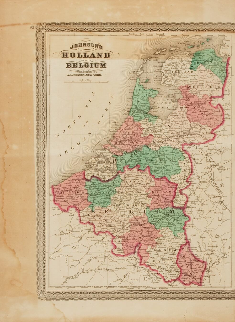 nineteenth century hand colored map entitled johnsons holland and belgium new york aj johnson nd circa 1870