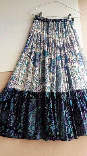 25bbccd2b381 S - M - Indian Gauze Skirt - Boho - Hippie - Gypsy Long Maxi Skirt ...