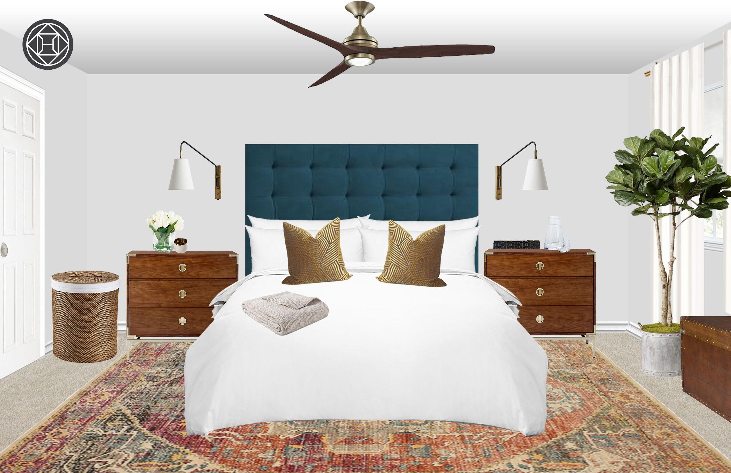 Midcentury Modern Bedroom Design by Havenly Interior
