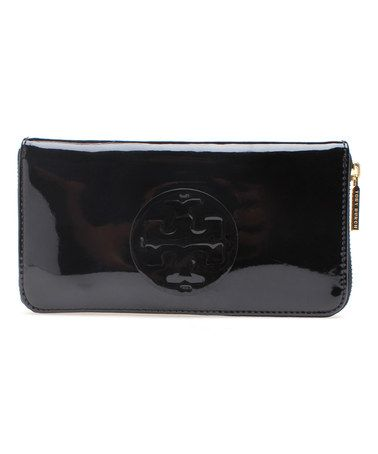 Look what I found on #zulily! Black Stacked Logo Continental Patent Leather Wallet by Tory Burch #zulilyfinds