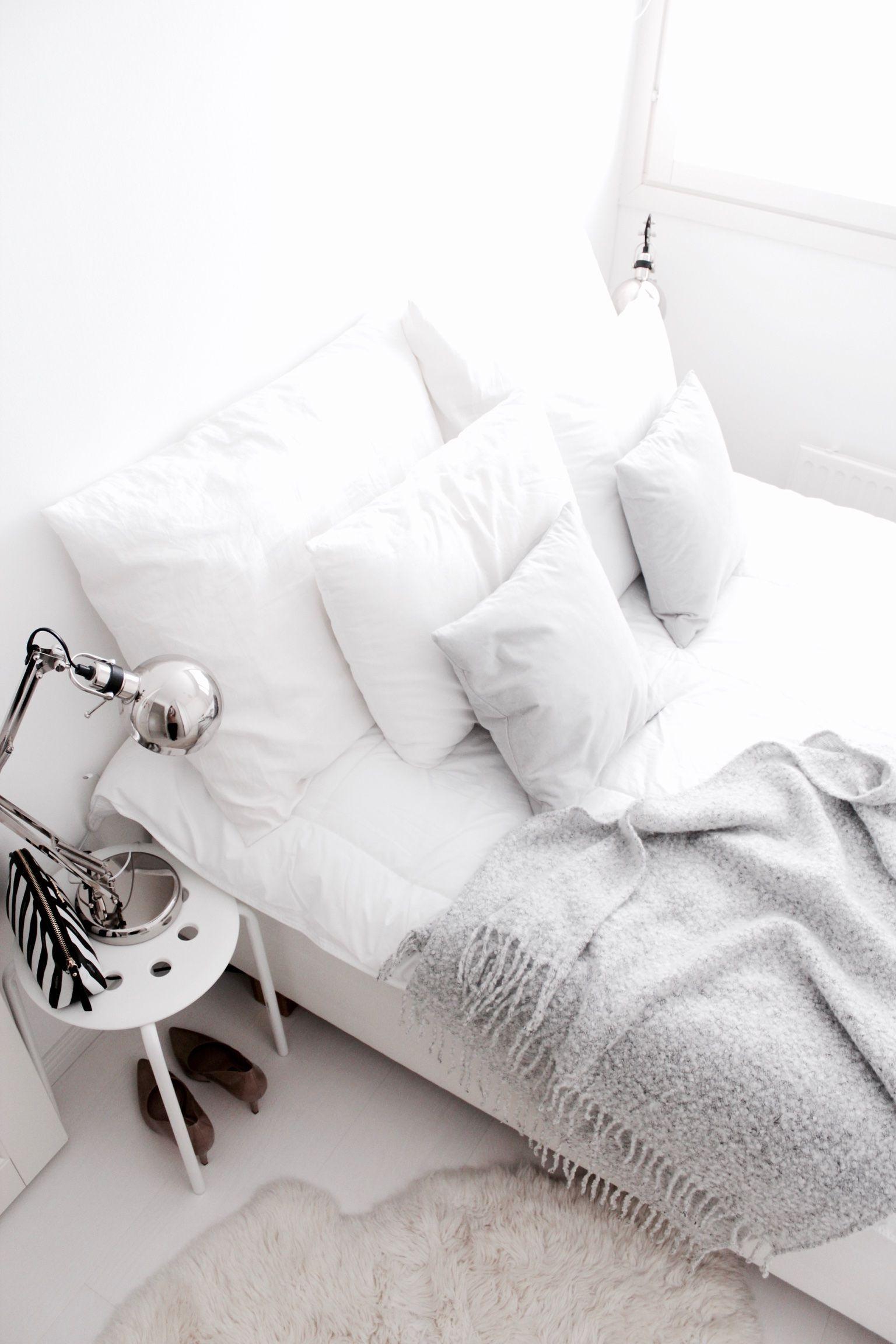 White & light grey bedroom