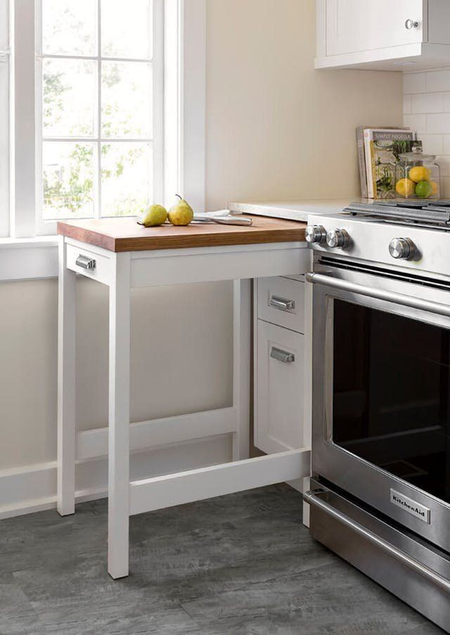 These storage ideas are ideal for a small space like your kitchen. Small kitchens can be hard to deal with when you're an active cook. DIY a pegboard for your small kitchen, or maybe even downsize your furniture and add a table to your cabinets. Get the full list of organization ideas for the home kitchen. #smallkitchenorganization