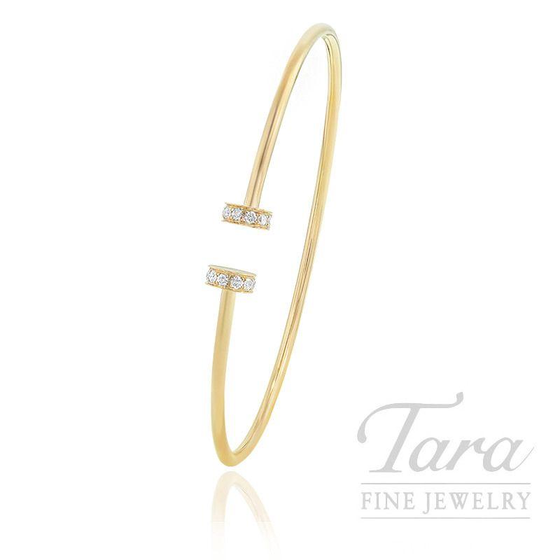 18k Yellow Gold Diamond Bangle Bracelet 5 7g 22tdw Diamond Bangle Diamond Bangles Bracelet Fine Jewelry