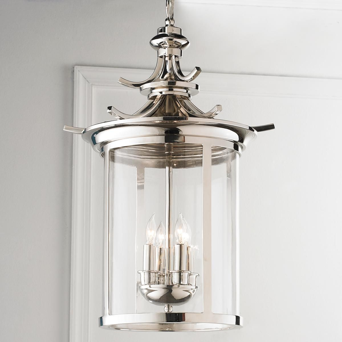 Polished Nickel Pagoda Lantern With Its Finish And Shape A Couple Of Dining Room LightingBathroom
