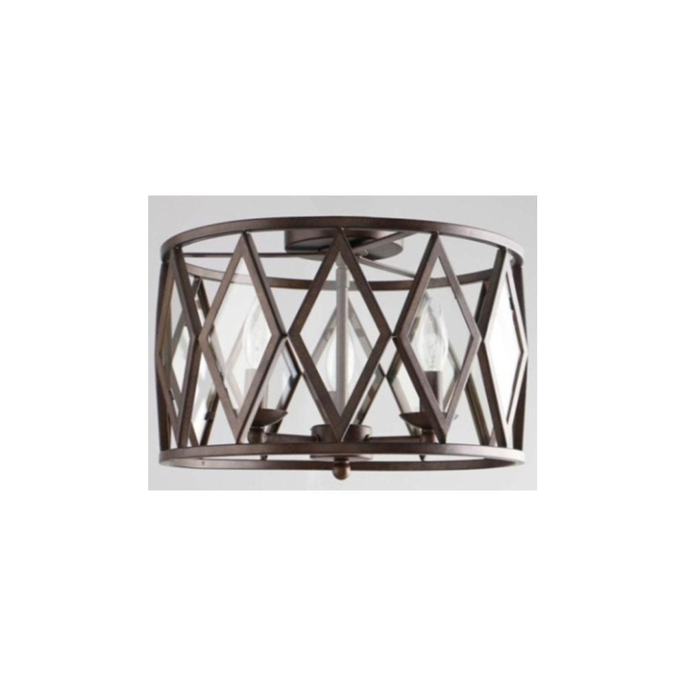 Home Decorators Collection 3 Light 15 In. Bronze Prismatic Glass  Flushmount 20364