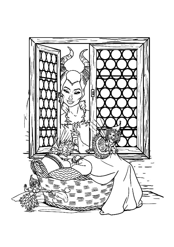 Maleficent Watch Baby Princess Aurora From Window Coloring Pages Color Luna Maleficent Princess Aurora Maleficent Aurora