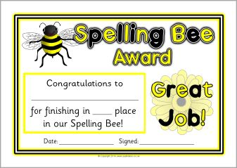 Spelling Bee Award Certificates Sb10421 Sparklebox