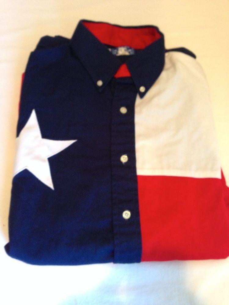 TEXAS COTTON long sleeve cotton button down TEXAS FLAG shirt Men's XL #texas