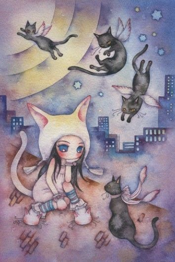 Cute Girl with Cats