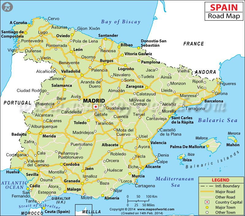 Spain Road Map Maps Charts Graphs Pinterest Spain Spain