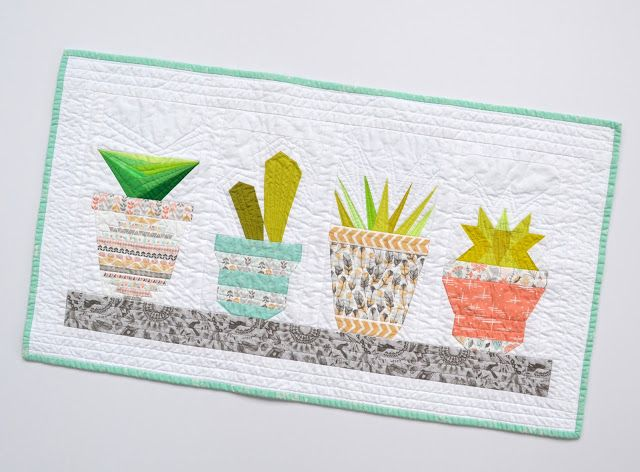 Twiggy and Opal - paper pieced quilt in Succulent Shelf pattern