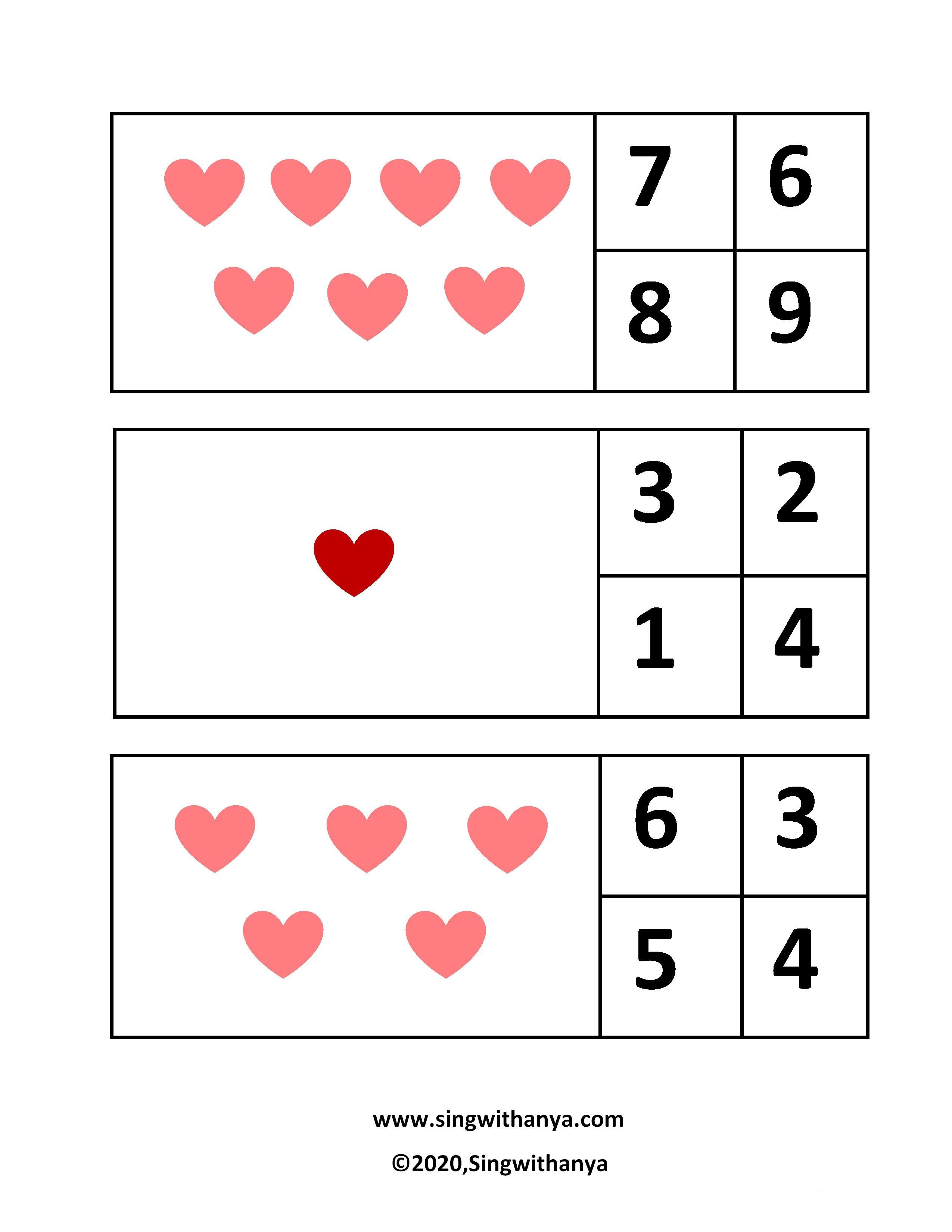 Let S Count The Hearts Free Worksheets In
