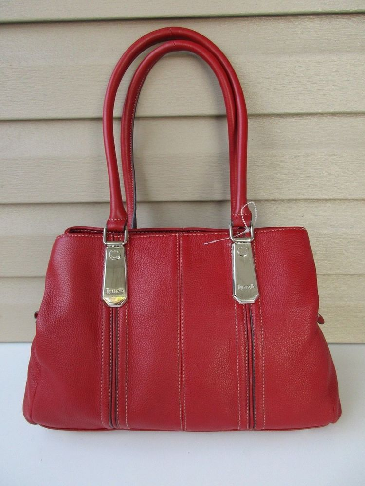 Tignanello Hand Bag Red Hobo Leather Mint