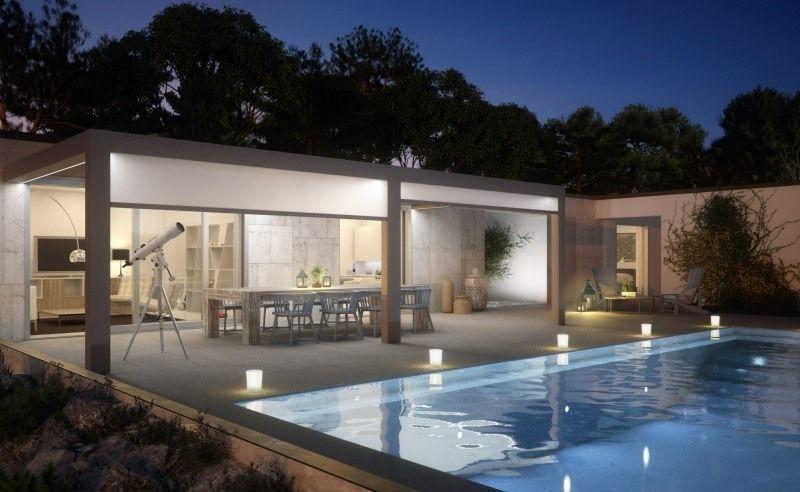 Terrassenuberdachung Mit Pergola Und Rollos Schone Modern