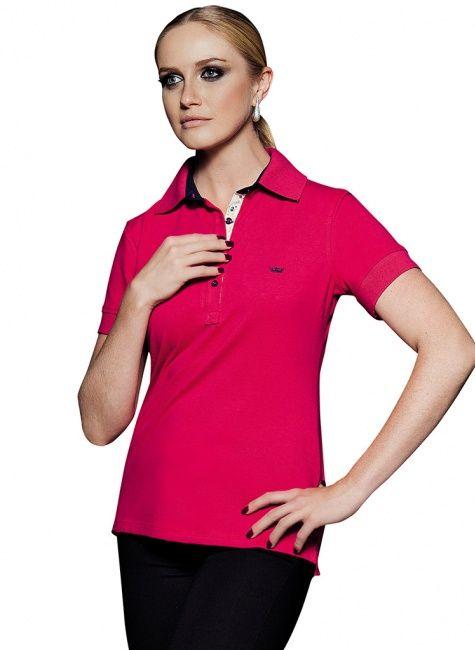 701dd8de7c Blusa Pólo Vermelha Detalhes Florais Principessa Marion