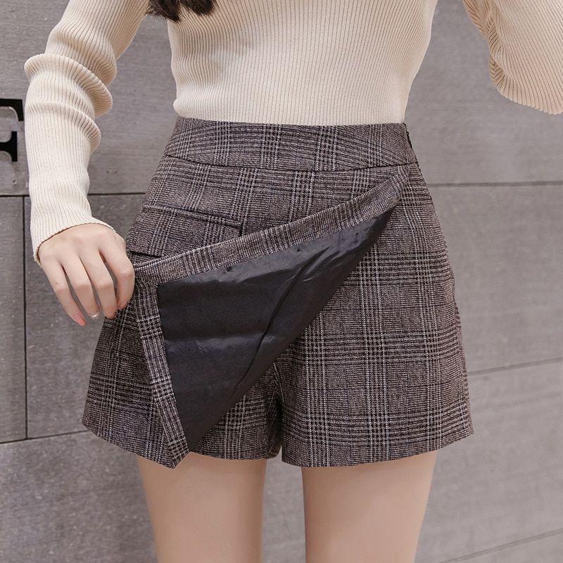 cdd951c10a0 Irregular plaid short pants women s new high waist slim a line pacthwork  elegant office plaid mini