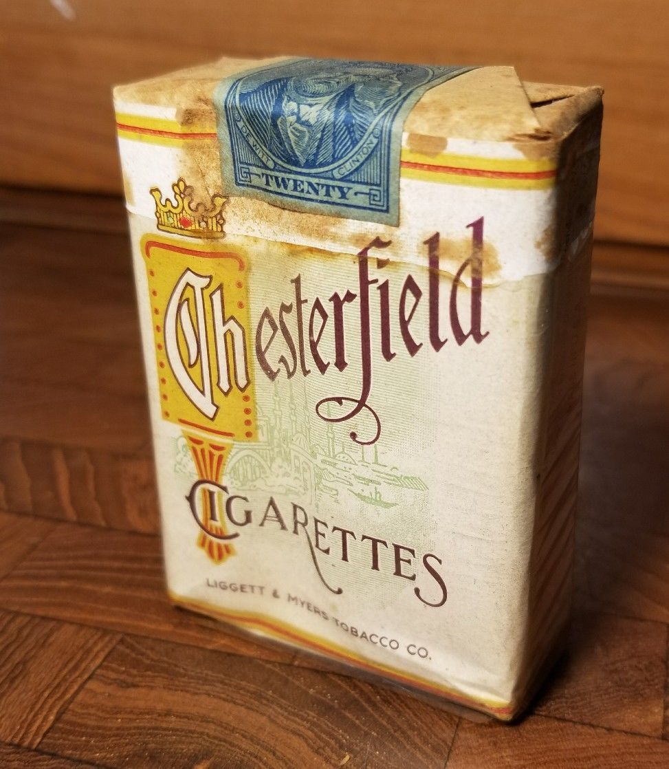 Vintage 1940s Chesterfield Cigarettes Full Unopened Pack Original