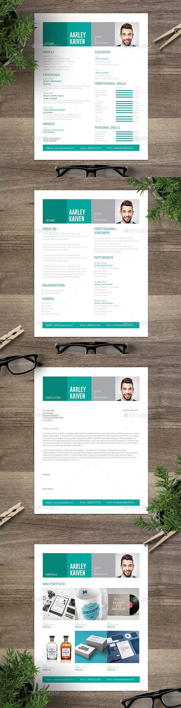 Modern Resume Set  Modern Resume Template And Creative Resume