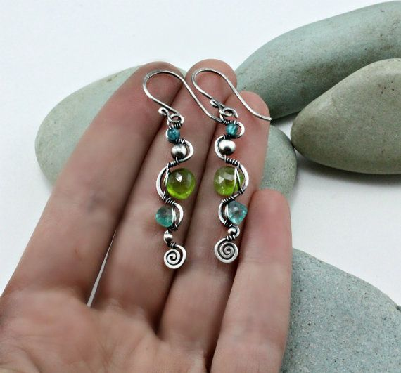 Wire Wrapped Earrings 925 Sterling Silver And By