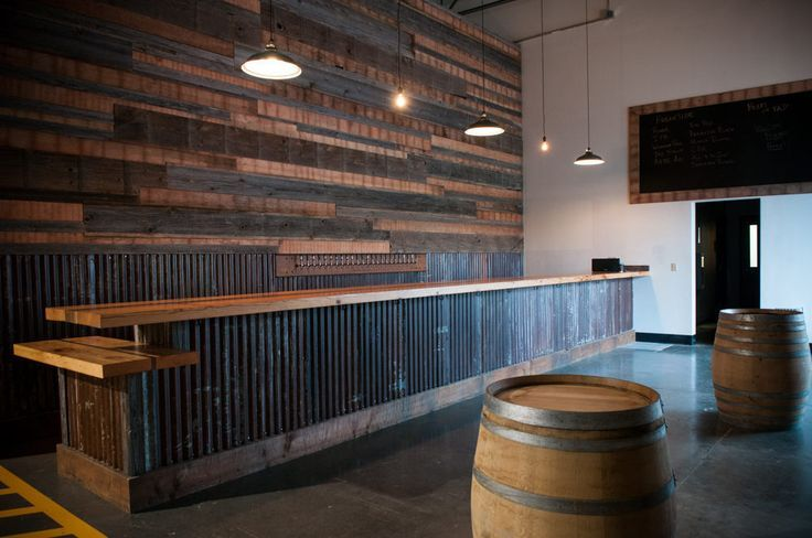 Corrugated Metal Bar With Refurbished Wood Brewery