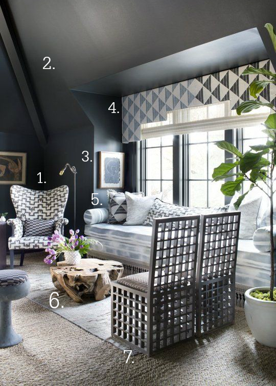 Get the look of this stunning living room with dark blue walls and patterns!   Arrow & Wild