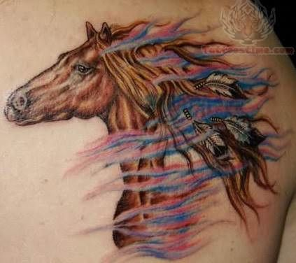 Wild horse with feathers circles indian and tat for Wild horse tattoo