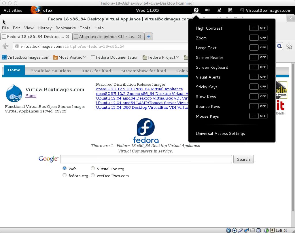 fedora 18 user system menu | Fedora Linux 18 Virtual Appliance